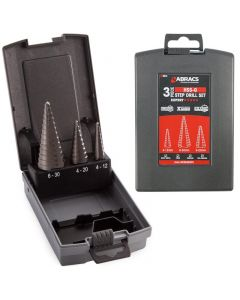 see here Drill bits from Abracs. Also know as Abracs 3 Piece Step Drill Set.