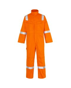 Here you find a welders flame retardant Overall or Coverall. this Welders Coverall comes in many sizes and three colours, you see here the Orange flame retardant coverall. This overall has reflective tape on the shoulder, arms and legs for added