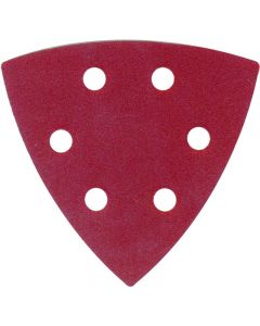 This is an image of a ABRACS HOOK & LOOP SANDING DISC TRIANGLE 93MM X 93MM X 60 GRIT - PACK OF 5